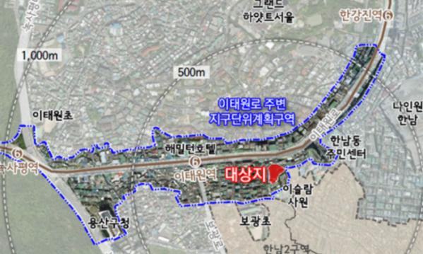 ▲서울 용산구 한남동 732-20일대 위치도.  (자료제공=서울시 )