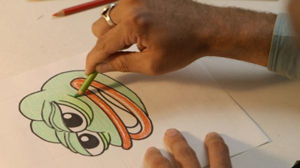 ▲페페의 원작자 맷 퓨리는 작가의 자전적 모습과 어린 시절 경험을 투영해 툭 튀어나온 눈알이 인상적인 개구리 캐릭터 페페를 만들었다. (왓챠)