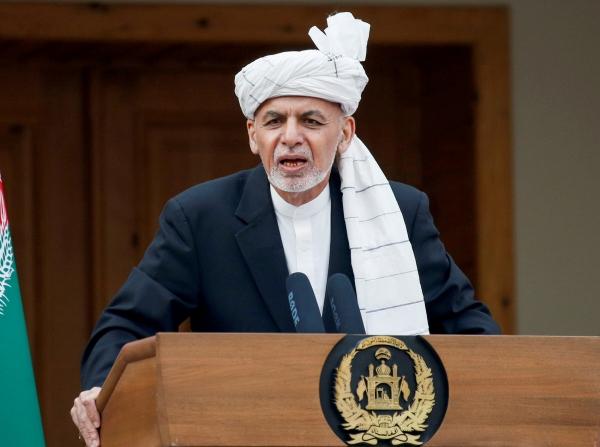▲아슈라프 가니 아프가니스탄 대통령이 지난해 3월 9일(현지시간) 수도 카불에서 연설하고 있다. 카불/로이터연합뉴스
