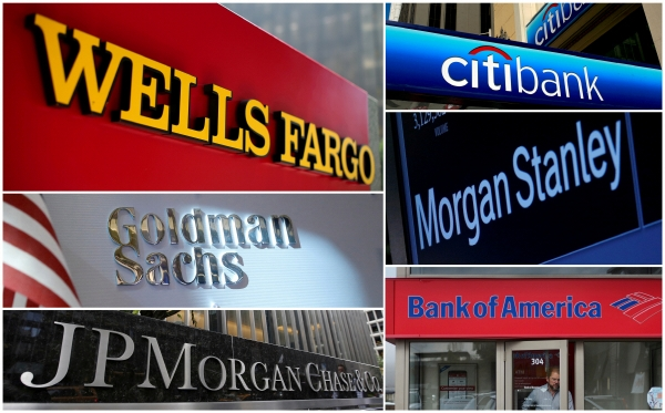 ▲왼쪽 위에서부터 차례대로 웰스파고, 씨티은행, 골드만삭스, 모건스탠리, JP모건체이스, 뱅크오브아메리카 등의 로고가 보인다. 로이터연합뉴스