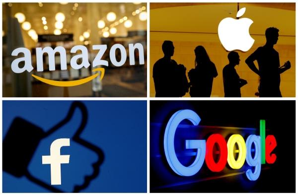 ▲(왼쪽 위에서부터 시계방향으로) 아마존, 애플, 구글, 페이스북 로고.  (연합뉴스)