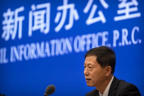 ▲위안즈밍 중국과학원 우한 국가생물안전실험실 주임이 22일 기자회견에서 발언하고 있다. 베이징/AP연합뉴스