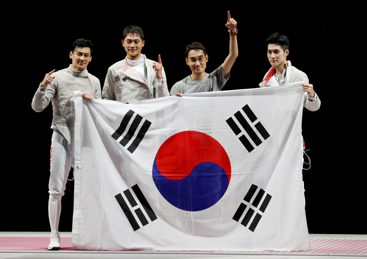 [도쿄올림픽] 남자 사브르 단체전 '금메달'…올림픽 2연패 달성