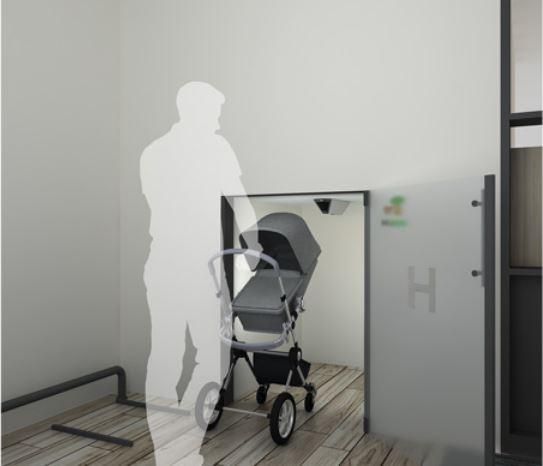 ▲현대건설의 대형 육아·생활용품을 살균소독할 수 있는 특화설계인 'H 클린존' (사진제공=현대건설)