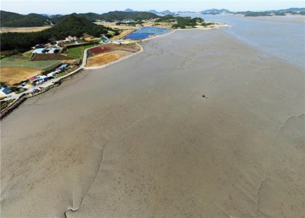 ▲전남 신안군 지도읍 탄동리 갯벌 전경. (사진제공=해양수산부)