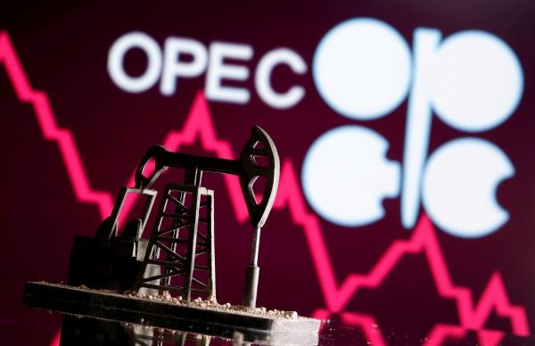 ▲3D 인쇄된 오일 팸프 잭이 그래프와 석유수출국기구(OPEC) 로고 앞에 있다. 로이터연합뉴스