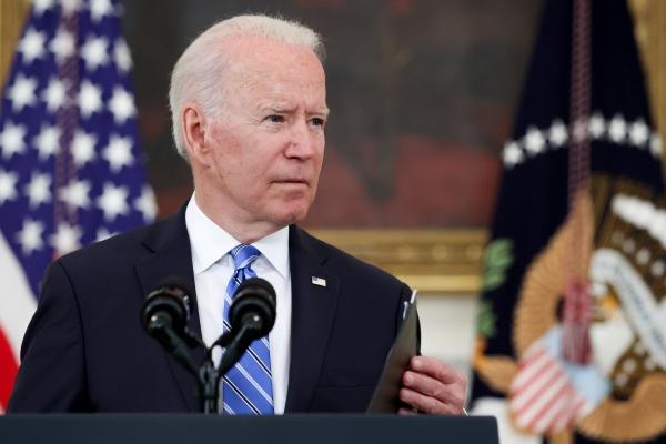▲조 바이든 미국 대통령이 19일(현지시간) 백악관에서 연설하고 있다. 워싱턴D.C./로이터연합뉴스