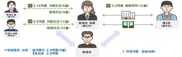 ▲자전거래 통한 '실거래가 띄우기' 적발 사례 (자료제공=국토교통부)
