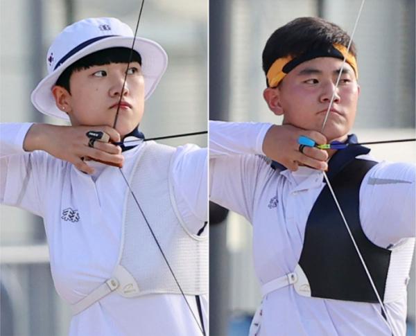▲한국 대표로 양궁 혼성전에 참가하는 안산(왼쪽), 김제덕(오른쪽) (연합뉴스)