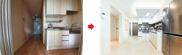 ▲그린리모델링 전(왼쪽)과 후 거실 모습 (사진제공=한국토지주택공사(LH))