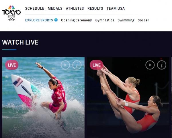 ▲NBC 올림픽 홈페이지에 경기가 생중계되고 있다. 출처 NBC 올림픽 홈페이지