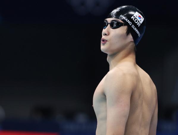 ▲2020 도쿄올림픽 남자 자유형 100m 준결승전에 진출한 황선우. (연합뉴스)