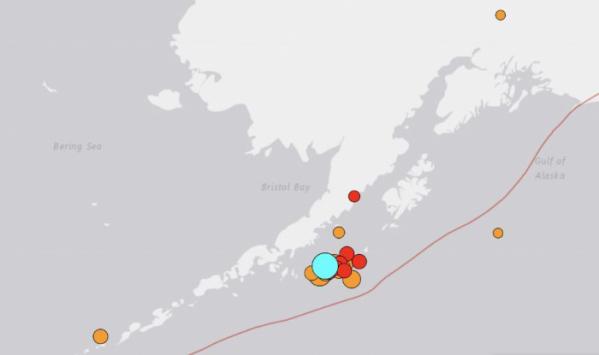 ▲알래스카 주에 28일(현지시간) 저녁 규모 8.2 지진이 발생했다. 미국 지질조사국 홈페이지 캡처.