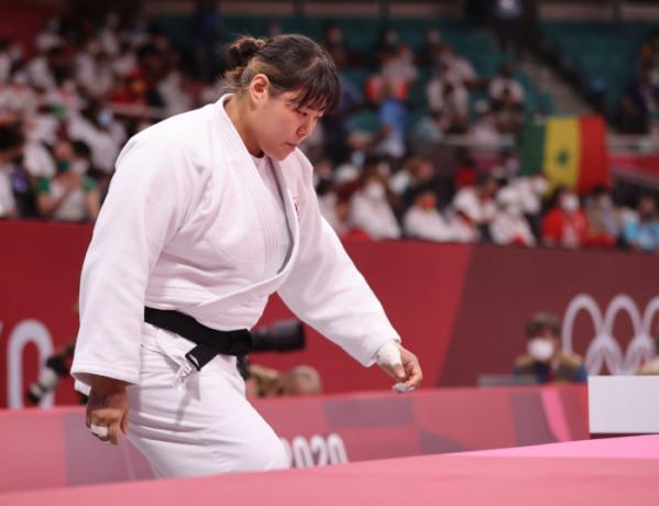 ▲30일 일본 도쿄 무도관에서 열린 도쿄올림픽 유도 여자 78kg 이상급 32강전에서 한미진이 경기장에 입장하고 있다. (연합뉴스)