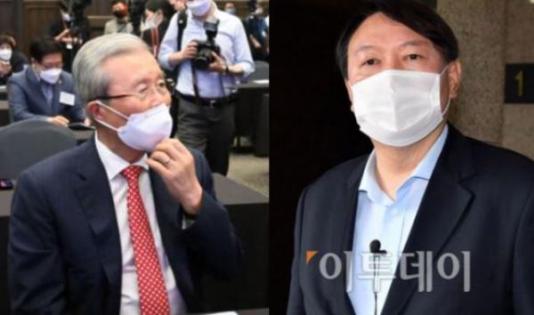 ▲김종인 전 국민의힘 비상대책위원장(왼쪽)과 윤석열 전 검찰총장