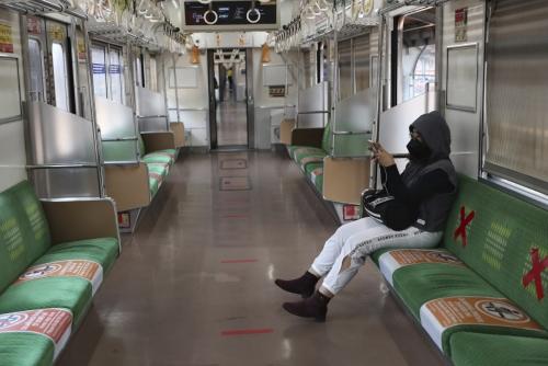 ▲인도네시아 자카르타 지하철이 7월 28일 신종 코로나바이러스 감염증(코로나19) 확산 여파로 한산하다. 자카르타/AP연합뉴스