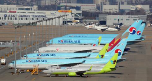 ▲인천국제공항 주기장에 항공기들이 멈춰 서 있다.  (연합뉴스)