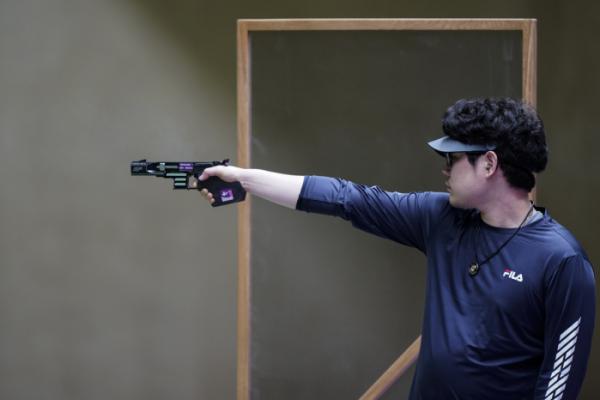 ▲2020 도쿄올림픽 사격 남자 25m 속사권총 종목에서 한대윤이 본선 1일차 경기에서 4위에 올랐다.  (AP/뉴시스)