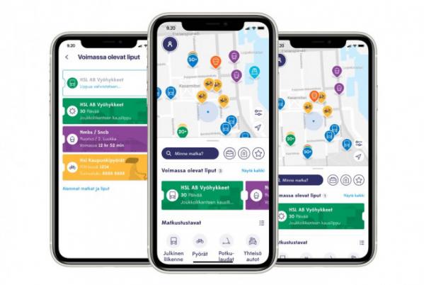 ▲핀란드의 교통안내 서비스 앱 '윕(Whim)'.