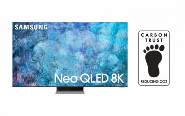 ▲삼성 Neo QLED 8K 모델과 Reducing CO2 인증 로고 이미지 (사진제공=삼성전자)