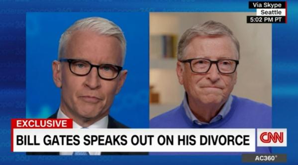 ▲빌 게이츠(왼쪽)가 4일(현지시간) 오후 CNN 간판 앵커 앤더슨 쿠퍼와의 인터뷰하고 있다. CNN 방송 캡처