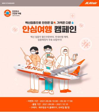 ▲제주항공은 백신 접종을 예약한 제주항공 고객들을 대상으로 다양한 혜택을 제공하는 '안심여행 캠페인'을 진행한다.  (사진제공=제주항공)