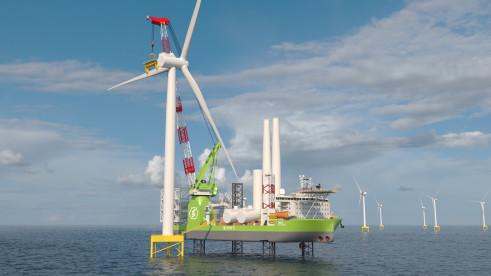 ▲올해 5월 대우조선해양이 모나코 선사인 에네티로부터 수주한 해상풍력발전기 설치선 조감도.  (사진제공=두산중공업)