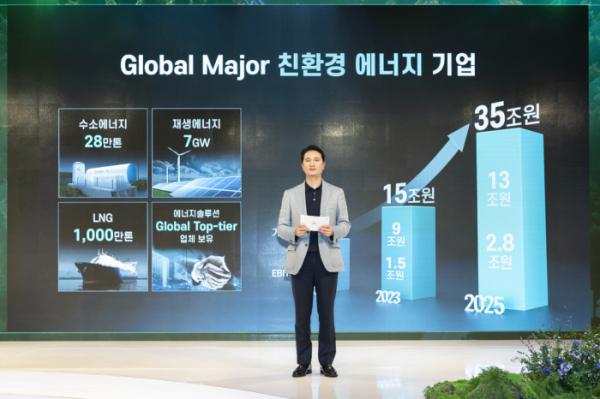 ▲SK E&S 추형욱 대표이사가 1일 서울 종로구 포시즌스호텔에서 열린 '2021 SK E&S 미디어데이'에서 수소/재생에너지/에너지솔루션/친환경 LNG 등 4대 핵심 사업을 통해 차별화된 '그린 포트폴리오'를 구축하고, 2025년 기업가치 35조원 규모의 '글로벌 메이저 친환경 에너지 기업'으로 도약하겠다는 내용의 '파이낸셜 스토리'를 발표하고 있다. (사진제공=SK E&S)