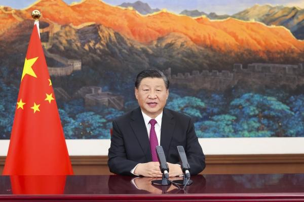 ▲시진핑 중국 국가주석이 2일(현지시간) 2021 중국국제서비스무역교역회에 온라인으로 축사를 하고 있다.  (베이징/신화뉴시스)