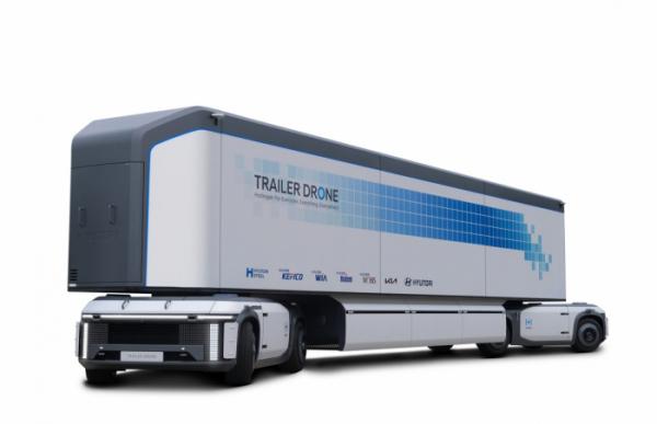 ▲무인 운송 시스템 콘셉트 모빌리티인 '트레일러 드론'. 자율주행 시스템을 갖춘 물류 이동 기술이 접목돼 있다.  (사진제공=현대차)