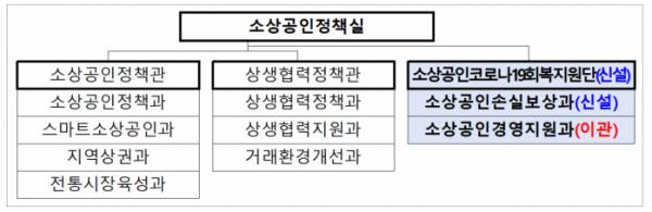 ▲직제 개정 이후 중소벤처기업부 소상공인정책실 조직도. (사진제공=중기부)