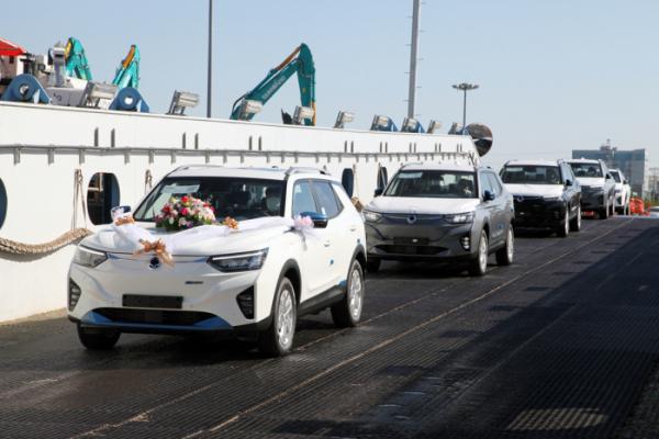 ▲유럽으로 수출되는 쌍용차의 첫 전기차 코란도 이모션이 선박에 선적되고 있다.  (사진제공=쌍용차)
