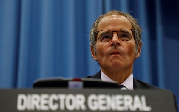 ▲라파엘 그로시 국제원자력기구(IAEA) 사무총장이 지난 13일 오스트리아 빈에서 열린 IAEA 이사회에 참석하고 있다.  (빈/로이터연합뉴스)