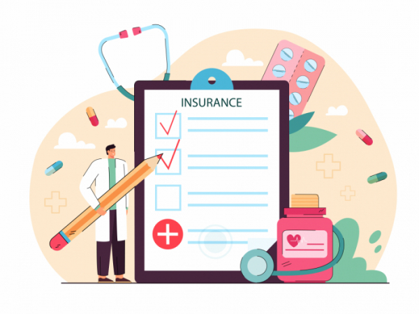 ▲Tiny doctor giving health insurance. Hospital man with pencil filling in medical form flat vector illustration. Healthcare, money security concept for banner, website design or landing web page (게티이미지뱅크)