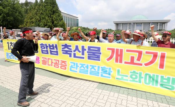 ▲대한육견협회 회원들이 초복인 2019년 7월 12일 서울 여의도 국회 앞에서 열린 기자회견에서 개 식용 금지 법안 반대를 주장하고 있다. (뉴시스)