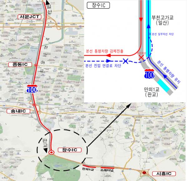 ▲한국도로공사가 10월 5일부터 21일까지 수도권제1순환고속도로 집중 유지보수공사를 위해 장수IC~시흥IC(판교방향)와 장수IC(일산방향) 진입로를 통제한다. (사진제공=한국도로공사)