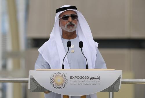 ▲셰이크 나흐얀 빈 무바라크 알 나흐얀 아랍에미리트(UAE) 관용·공존부 장관이 3일(현지시간) 2020 두바이 엑스포 행사장에서 연설하고 있다. 두바이/AP연합뉴스