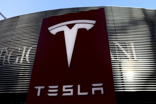 ▲미국 전기차 제조사 테슬라의 로고가 보인다. 베이징/로이터연합뉴스