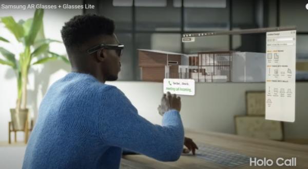 ▲삼성전자가 개발 중인 것으로 알려진 차세대 AR(증강현실)글라스는 선글라스 모양의 AR글라스를 쓰면 홀로그램처럼 떠오른 화면을 보며 업무를 볼 수 있다.  (출처 트위터 '워킹캣')