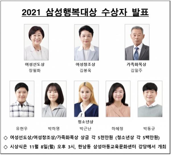 ▲삼성행복대상 수상자 (사진제공=삼성생명공익재단)