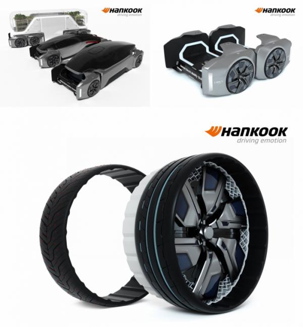 ▲한국타이어가 선보인 HPS-셀 콘셉트. 하나의 플랫폼에 다양한 차체를 얹을 수 있다. 차 성격에 따라 타이어의 트레드도 발 빠르게 교체할 수 있는 시스템이다.  (사진제공=한국타이어앤테크놀로지 )